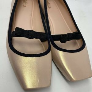 Melissa Shimmer Rose Pink Square Toe Flat Shoes